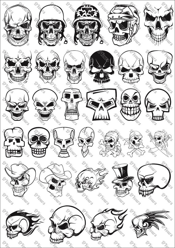 3 skull clipart picture freeuse Skulls Vector Clipart vol.3 - 33 Vector Models - svg cdr ai pdf ... picture freeuse