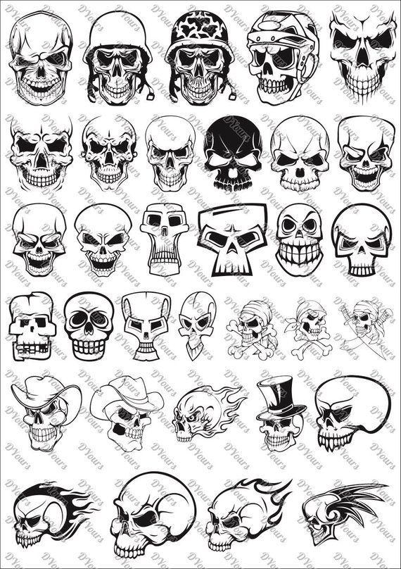 3 skulls clipart banner download Skulls Vector Clipart vol.3 - 33 Vector Models - svg cdr ai pdf ... banner download