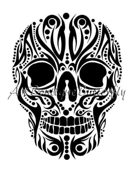 3 skulls clipart graphic black and white skull clip art skull clipart skull tattoo от ArtBoutiqueButterfly ... graphic black and white