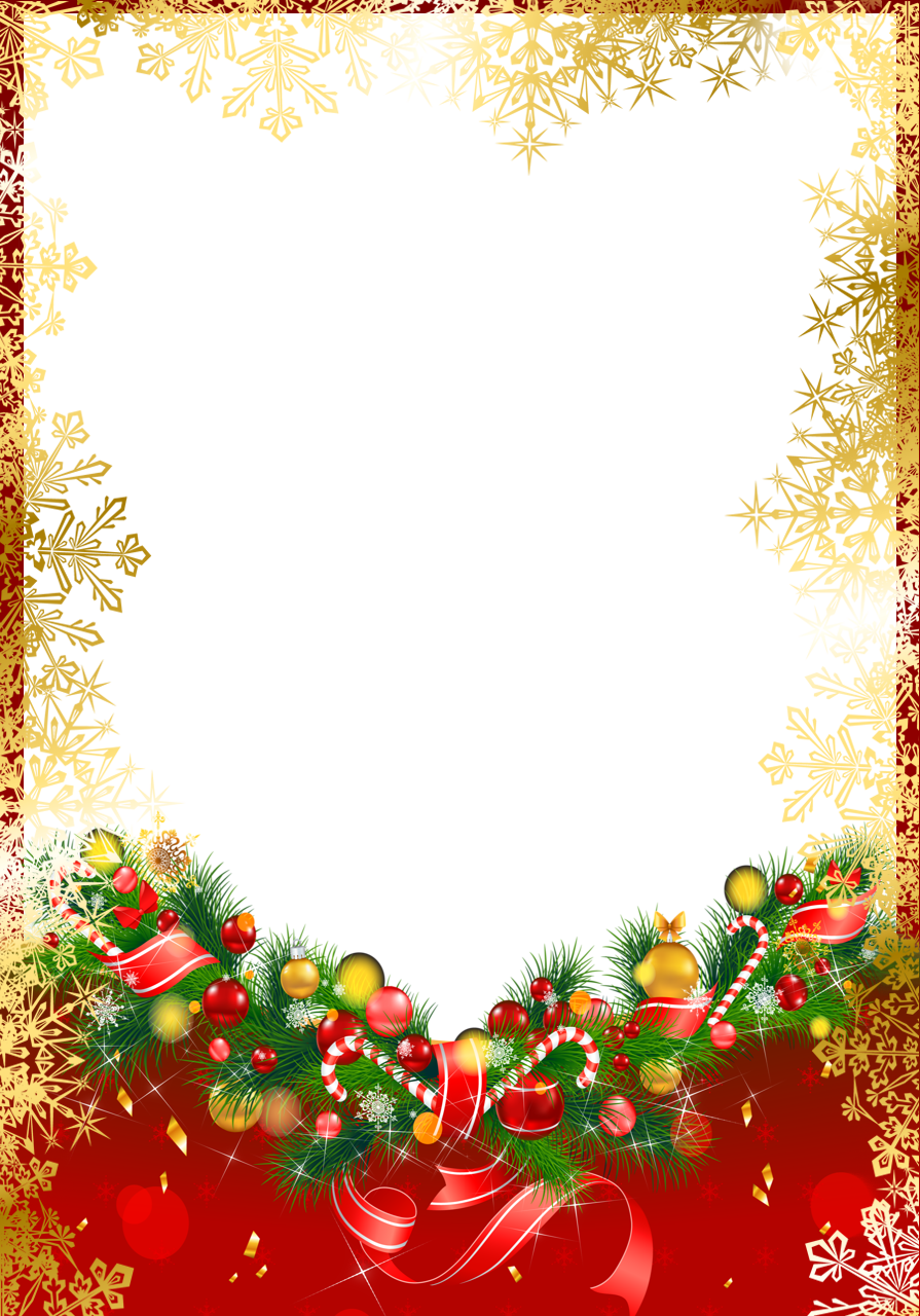 Clipart snowflake festive borders image library download Red Christmas PNG Frame with Gold Snowflakes | Gallery Yopriceville ... image library download