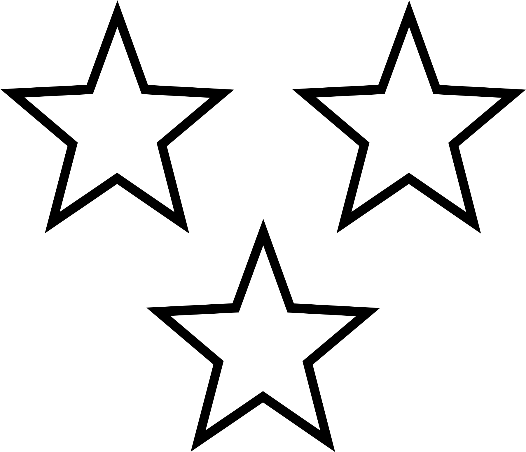 HD White Stars - 3 Stars Clipart Black And White , Free Unlimited ... png black and white stock