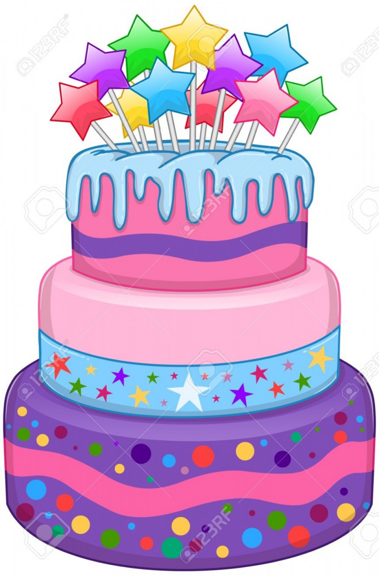 Photostock Vector Illustration Of Tiers Birthday Cake With Colorful ... image freeuse library