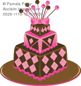 Clip Art Illustration of a Square 3 Tier Cake Decorated in an Argyle ... svg royalty free library