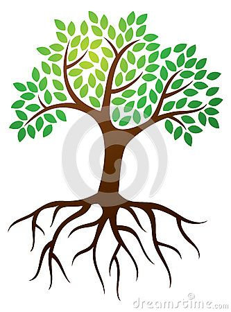 3 trees connected by roots clipart