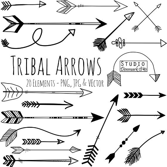 3 tribal arrow clipart. And vectors hand drawn