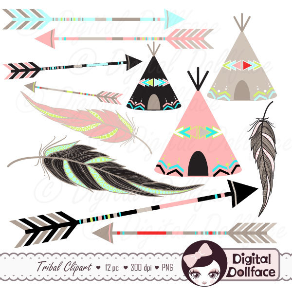 3 tribal arrow clipart clip art black and white Tribal Arrow Clip Art, Digital Feather, Teepee Clipart, Aztec ... clip art black and white