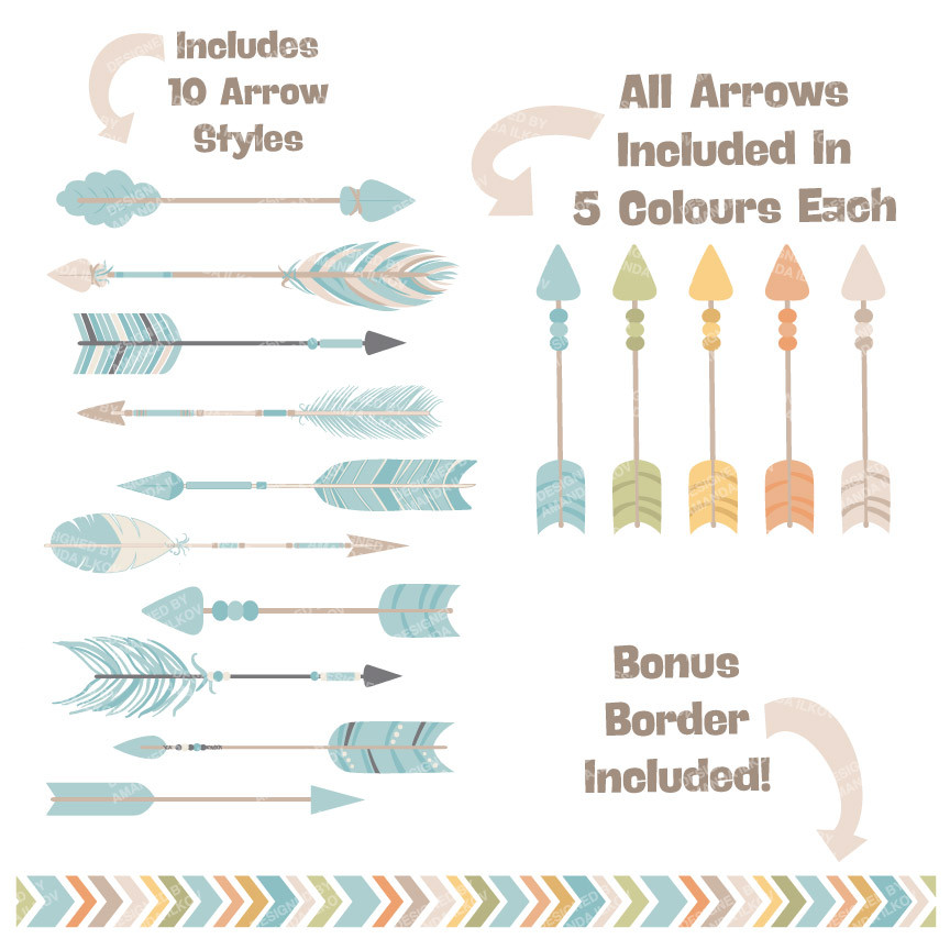 Arrows in vintage blue. 3 tribal arrow clipart