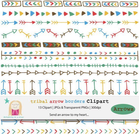 Arrows border clip art. 3 tribal arrow clipart