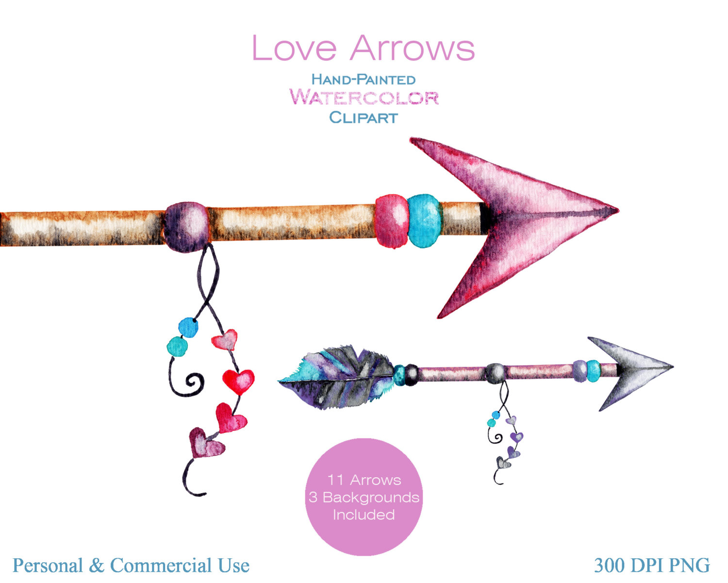 Handpainted watercolor commercial use. 3 tribal arrow clipart