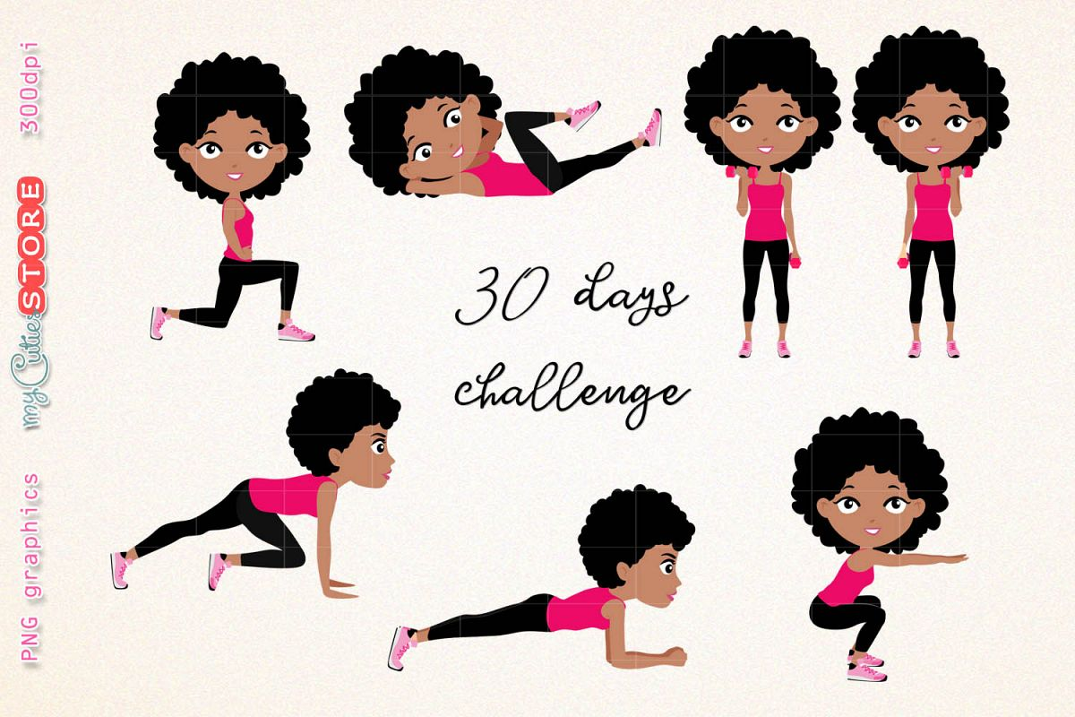 Workout clipart set clip royalty free Afro girl fitness workout. cute girl 30 days challenge clipart, clip art  illustration workout set for planner stickers, scraps or digital planning. clip royalty free