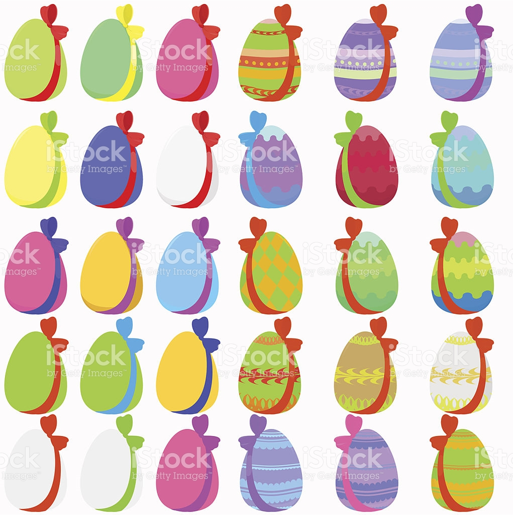 30 easter egg clipart image black and white Set Of 30 Easter Eggs With Bow stock vector art 480570433 | iStock image black and white