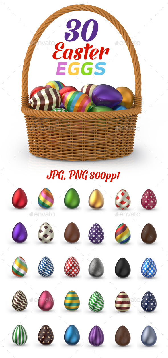 30 easter egg clipart svg 30 Easter Eggs 3D Set by nelutu   GraphicRiver svg