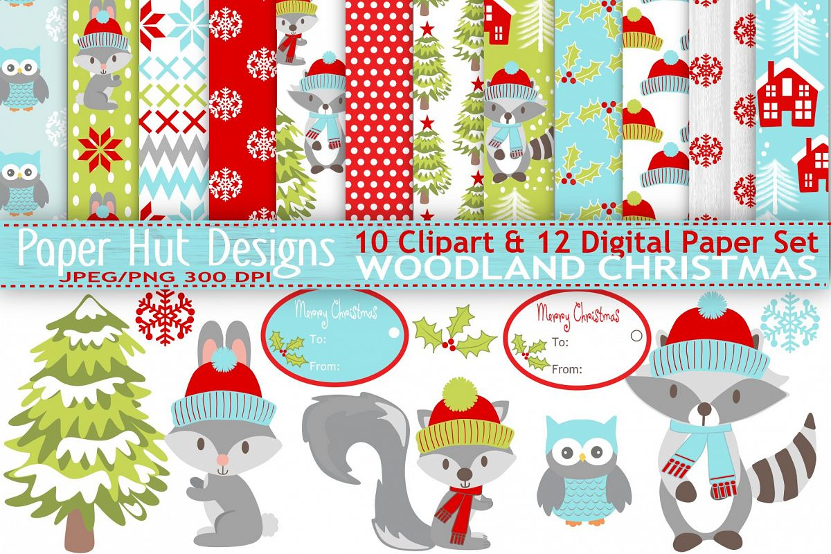300 by 300 cristmas clipart jpg transparent stock Woodland Animals Christmas Clipart and Digital Papers Set jpg transparent stock