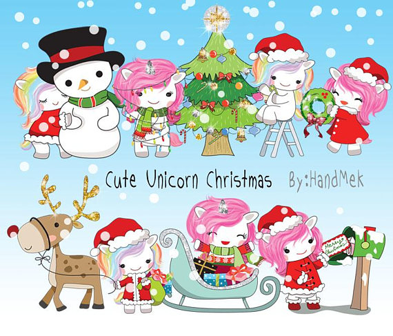 300 by 300 cristmas clipart graphic Cute Unicorn Christmas clipart instant download PNG file - 300 dpi ... graphic