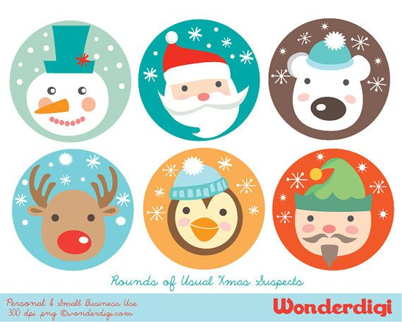 300 by 300 cristmas clipart clip art library stock Christmas Clipart - Round Christmas Character Circles - DIY Cupcake ... clip art library stock
