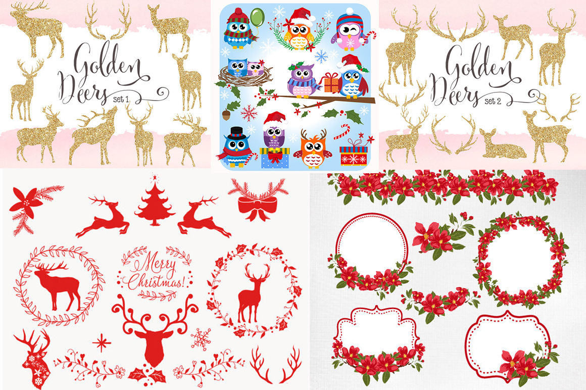300 by 300 cristmas clipart banner black and white stock Christmas Clipart Bundle 300 items By BlackCatsSVG | TheHungryJPEG.com banner black and white stock