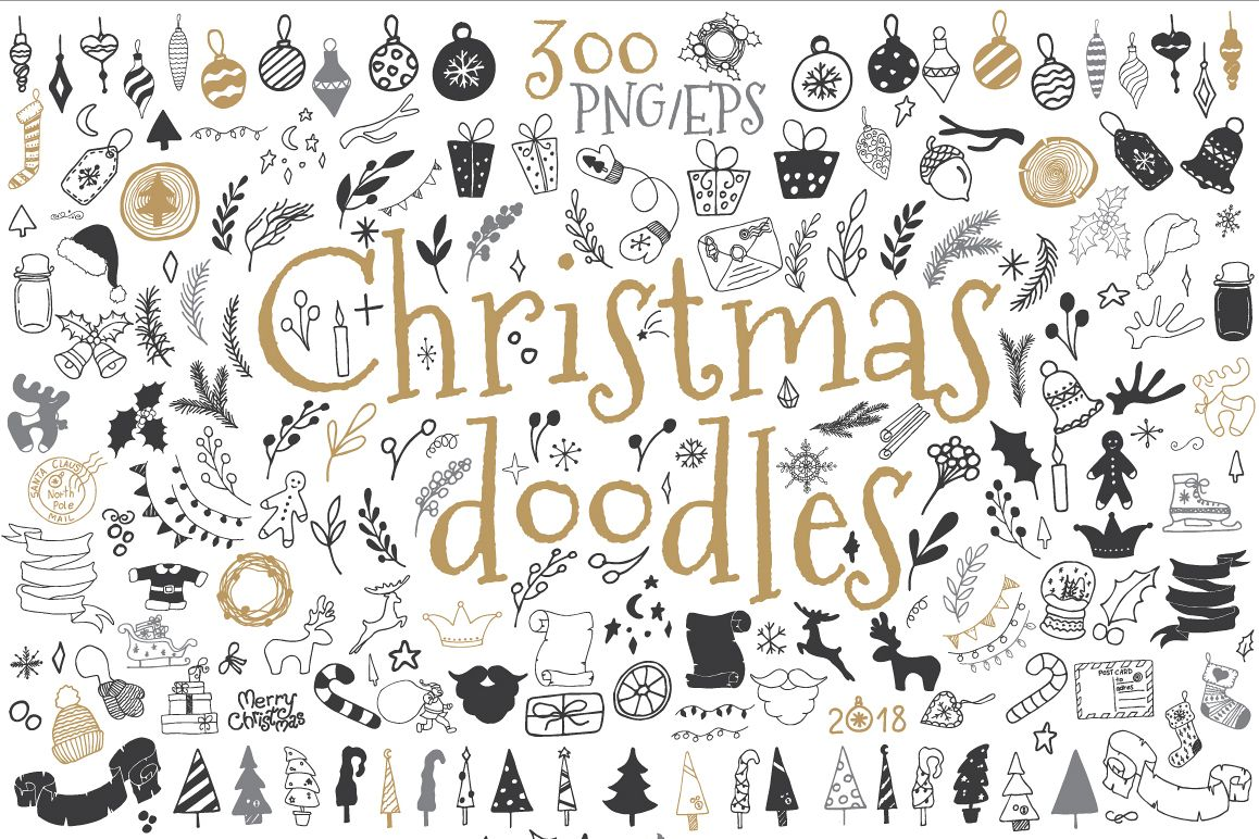 300 by 300 cristmas clipart vector royalty free download 300 Christmas doodle icons and design elements ClipArt vector royalty free download