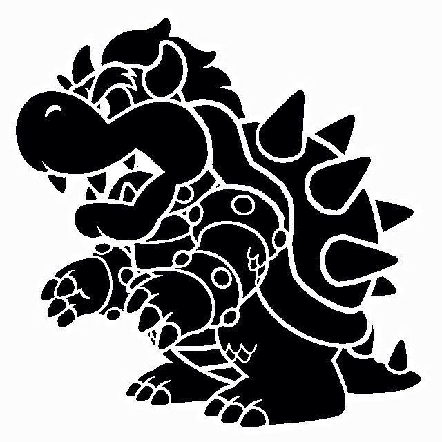 300 dpi bowser clipart png black and white library Bowser Stencil | pumpkin carving stencils | Stencils, Geek crafts ... png black and white library