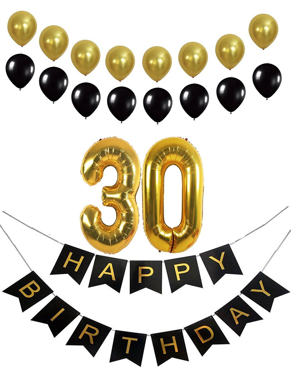 30th birthday banner clipart picture free stock Buy 30th Birthday Decorations Happy Birthday Banner Mylar Balloons ... picture free stock