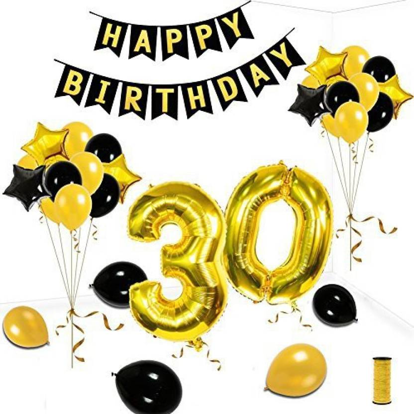 30th birthday banner clipart banner freeuse download KUMEED 30Th Birthday Party Decorations Kit, Gold Black Star Balloons ... banner freeuse download
