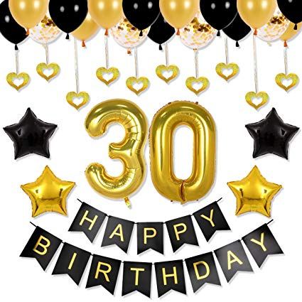 30th birthday banner clipart banner freeuse library 30th Birthday Decorations Party Supplies - Balloons Backdrop, Happy  Birthday Banner, 30th Black and Gold, Happy Birthday Balloons, Number  Balloons, ... banner freeuse library