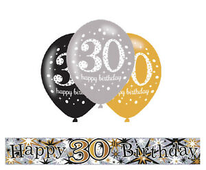 30th birthday banner clipart banner library Details about 30TH BIRTHDAY GOLD / BLACK / SILVER PARTY PACK WITH BANNER &  6 HELIUM BALLOONS banner library
