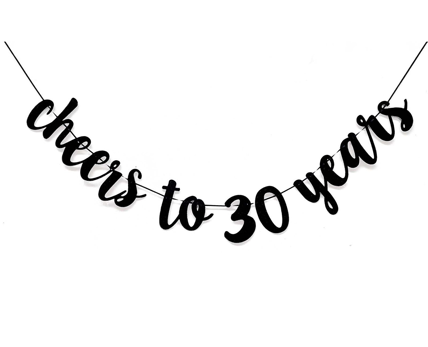 30th birthday banner clipart image black and white stock Black Cheers to 30 Years Banner for 30th Birthday Party Decorations image black and white stock
