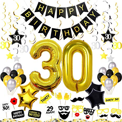 30th birthday banner clipart image library 30th Birthday Decorations Kit 75 Pieces - Happy Birthday Banner, 40-Inch 30  Gold balloons, Sparkling Hanging Swirls, Photo Booth Props, Confetti for ... image library