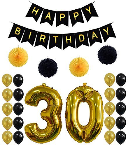 30th birthday banner clipart picture 30th Birthday Party Decorations Kit,Happy Birthday Banner,30th Gold ... picture