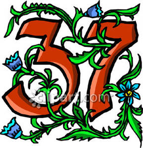 Number 37 With Blue Flowers - Royalty Free Clipart Picture image royalty free stock
