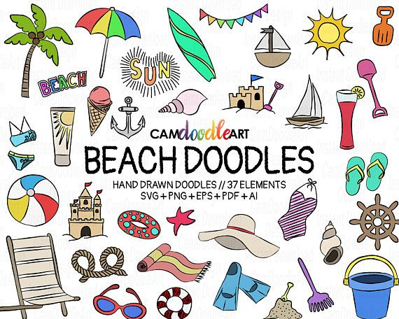 37 Beach Doodles Vector Pack, Hand Drawn Doodle Clipart ,Beach ... clipart download