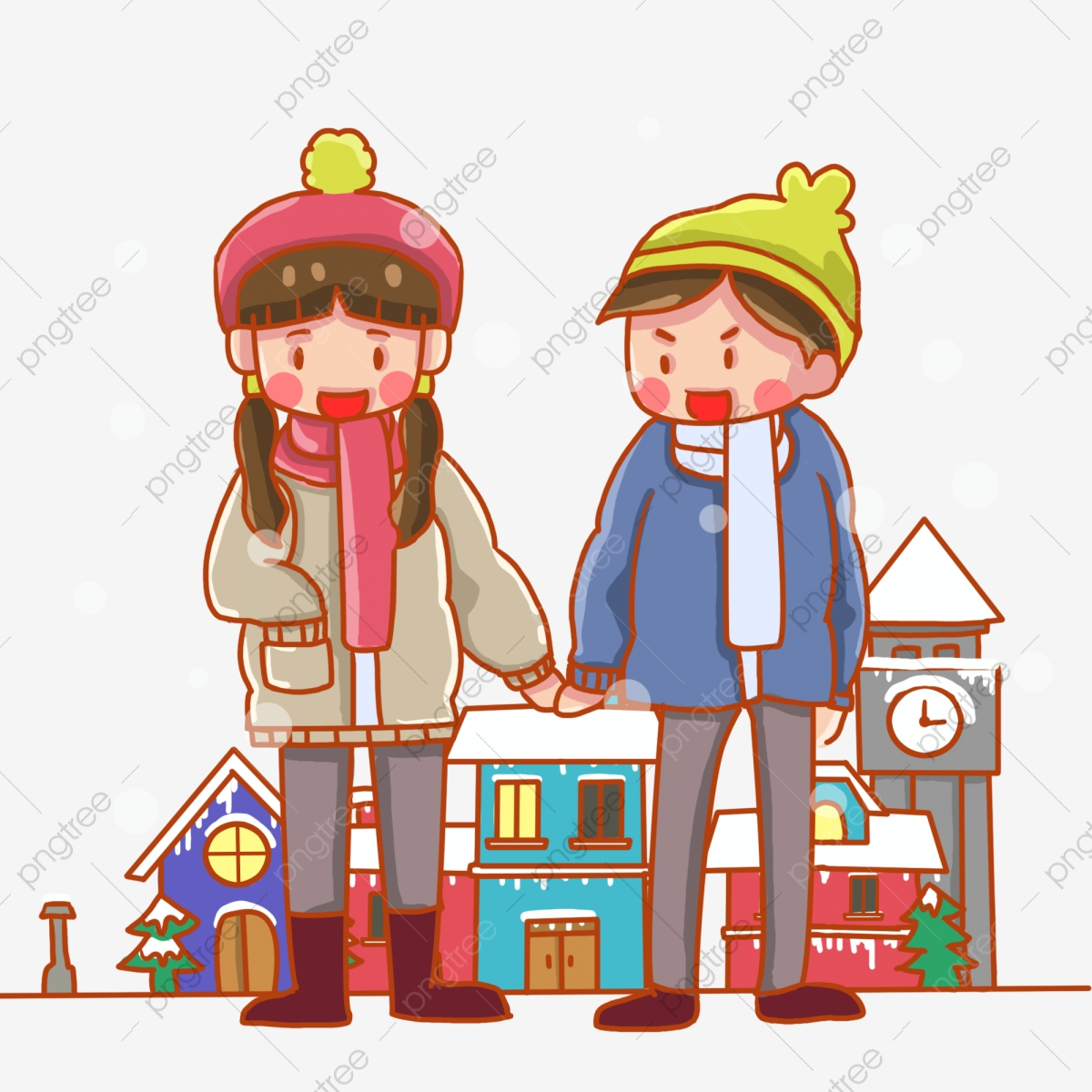 Couple Holding Hands Down Jacket Plush Cap, Love, Happy, Winter PNG ... image freeuse stock