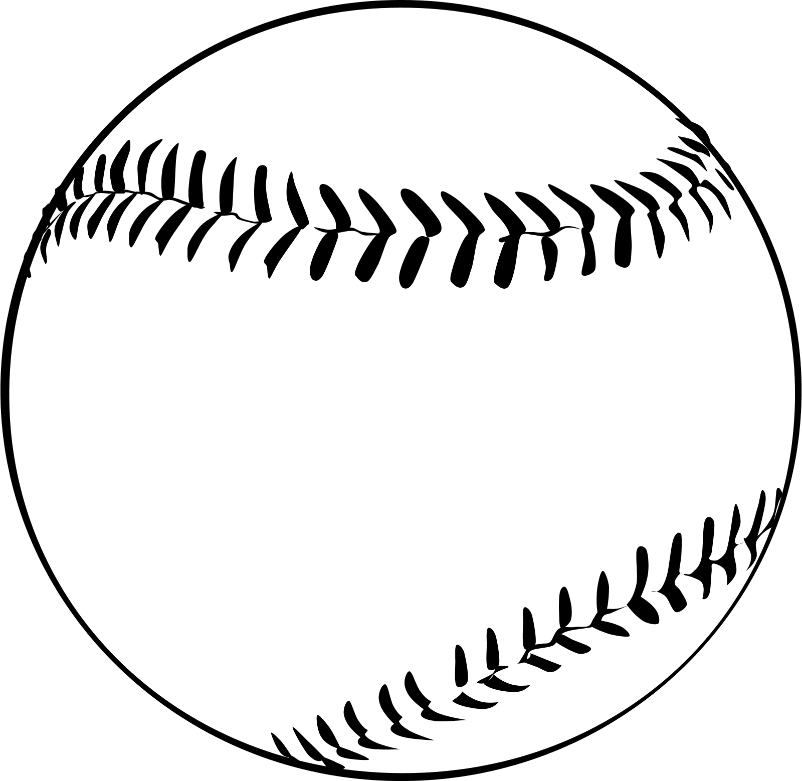 Baseball black and white clipart