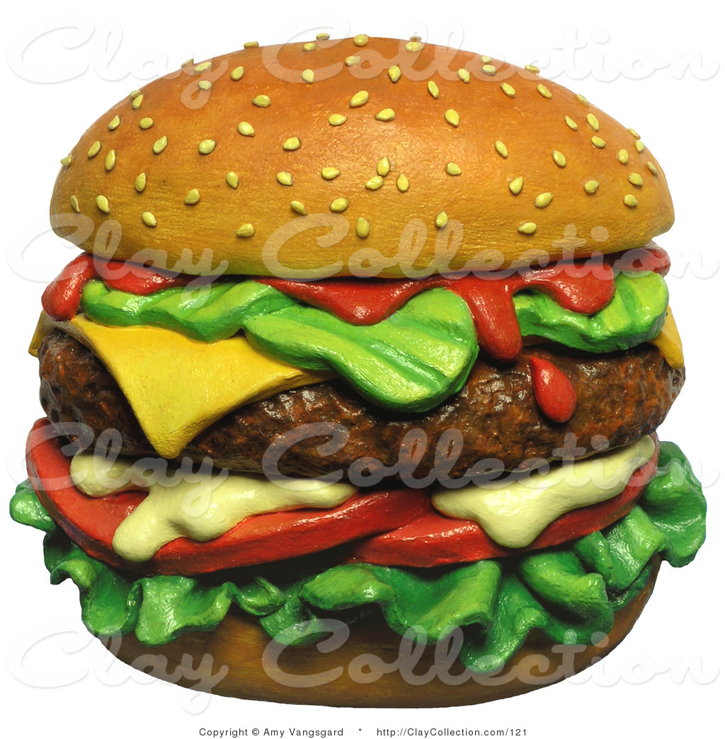 Clay Illustration of a 3d Juicy Cheeseburger on Top of a Sesame Seed ... banner black and white