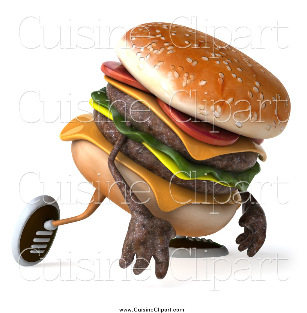 Cuisine Clipart of a 3d Hamburger Walking and Pouting by Julos - #13563 png download