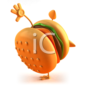 Royalty Free 3d Clipart Image of a Hamburger Doing a Handstand ... black and white library