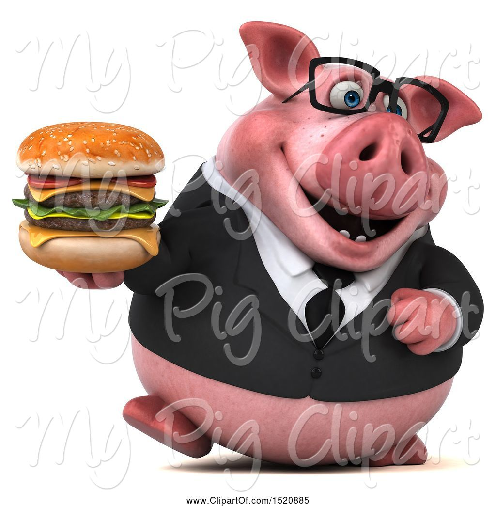 Swine Clipart of 3d Chubby Business Pig Holding a Burger, on a White ... graphic freeuse