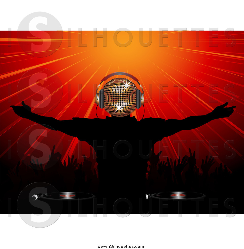 3d burst clipart clip royalty free Clipart of a 3d Gold Disco Headed Dj Wearing Headphones and Playing ... clip royalty free