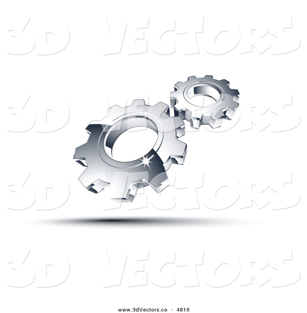 3d chrome gears clipart png