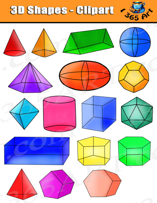3d clipart shape images transparent library Shapes Clipart, Isometric 3D Shapes Digital Graphics transparent library