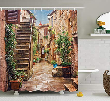 3d european fan cobblestone clipart clipart free download Ambesonne Tuscan Decor Shower Curtain, View of an Old Mediterranean Street  with Stone Rock Houses in Italian City Rural Culture Print, Fabric Bathroom  ... clipart free download
