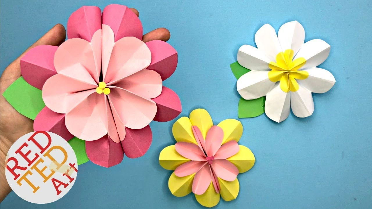 3d flowers clipart craft banner royalty free download Easy Paper Flower DIY - 3D Spring Flowers DIY - Making Paper Flowers Step  By Step banner royalty free download