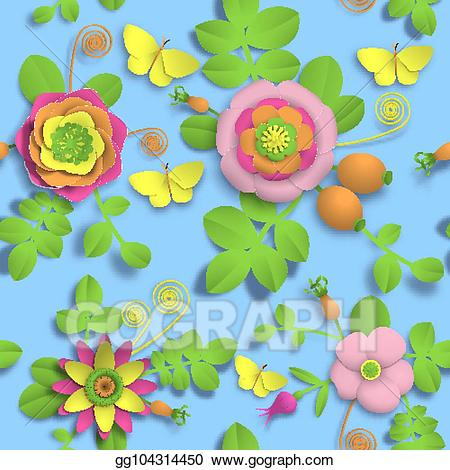 3d flowers clipart craft clip art library Vector Art - Paper craft 3d wild rose flowers, rosehip berries and ... clip art library