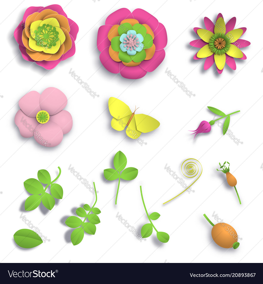 3d flowers clipart craft freeuse download Set elements paper craft 3d wild rose flowers freeuse download