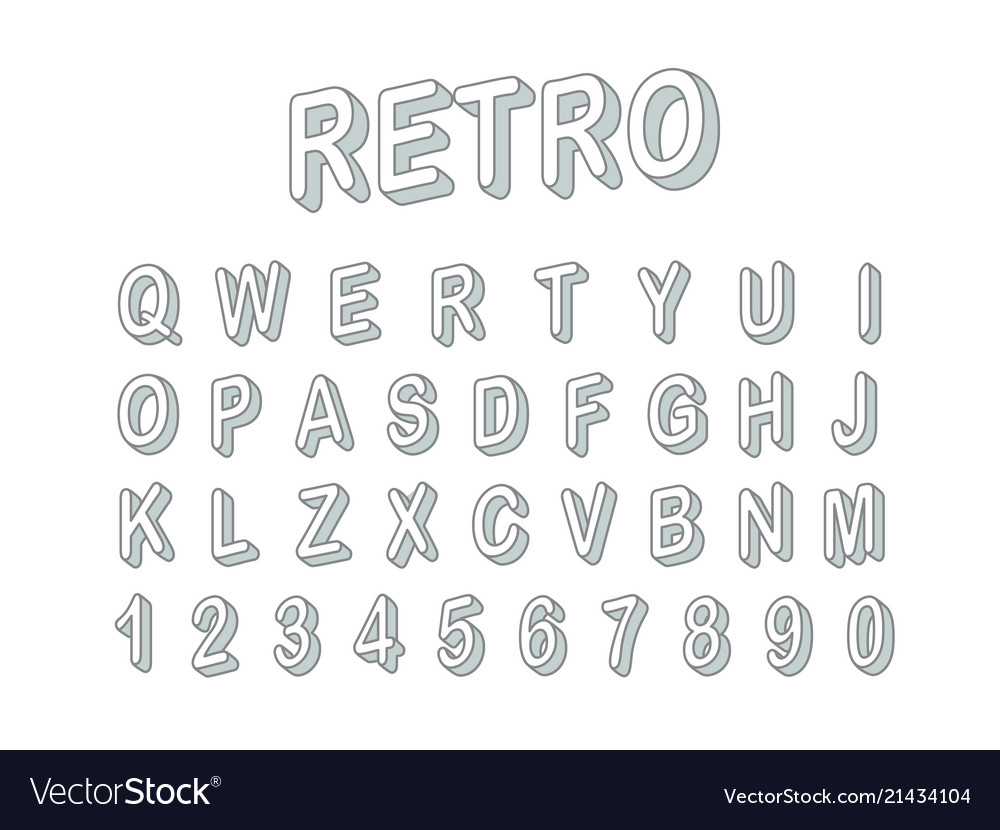 3d font clipart graphic transparent library Retro style 3d font clipart letters and digits graphic transparent library