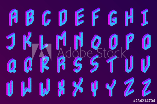 3d font clipart transparent stock bold colorful isometric pixel 3d font. modern bright uppercase ... transparent stock