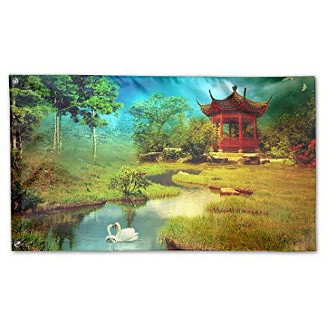 3d garden clipart clipart royalty free download Amazon.com : Jmirelife 3D Chinese Clipart Garden Flag 59 X 35 Inch ... clipart royalty free download