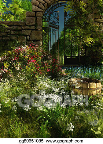 3d garden clipart vector freeuse download Stock Illustration - Garden idyll, 3d cg. Clipart Illustrations ... vector freeuse download