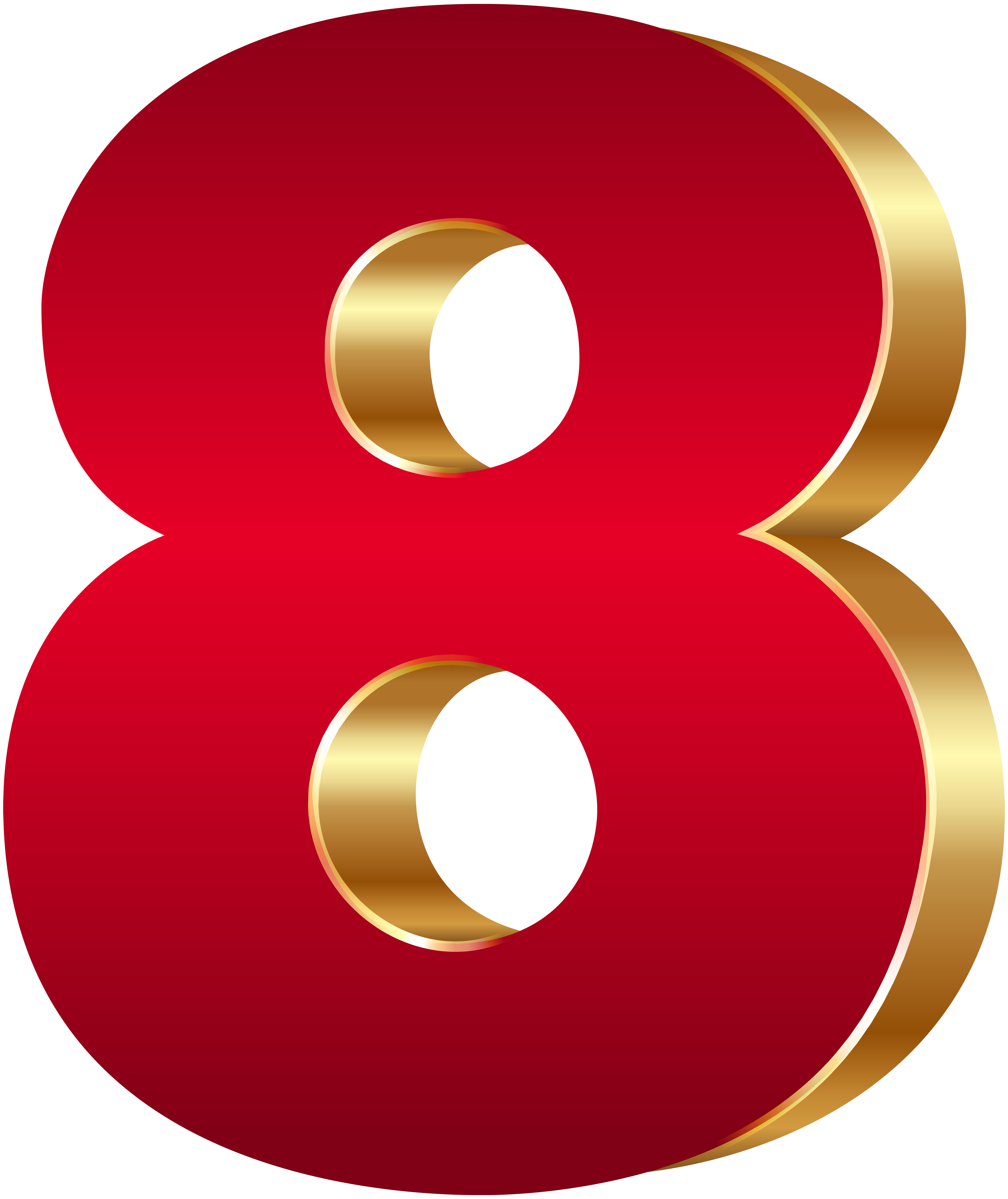 Christmas numbers clipart graphic freeuse stock 3D Number Eight Red Gold PNG Clip Art Image | Gallery Yopriceville ... graphic freeuse stock