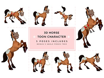 Farm Animals, Horse Toon Character Clipart graphic